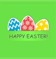 happy easter greeting card with colored eggs on vector image