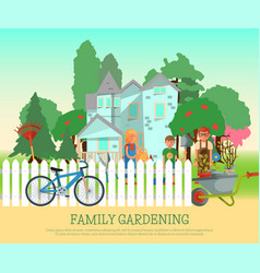 happy family gardening poster vector image
