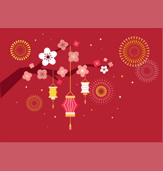 Happy mid autumn festival chuseok chinese vector