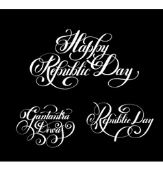 Happy Republic Day handwritten ink lettering set vector