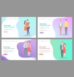 how to build happy relationship website set info vector image