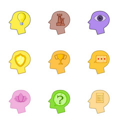 human head with different thoughts icons set vector image