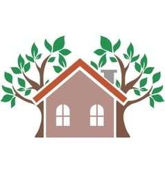 Icon house behind which trees vector