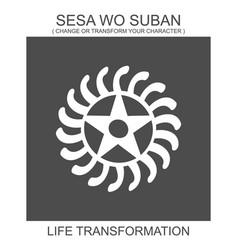 Icon with african adinkra symbol sesa wo suban vector