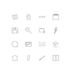 interface simple linear icons set outlined icons vector image