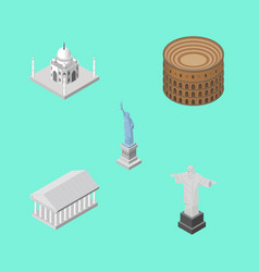 isometric travel set of coliseum athens new york vector image