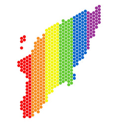 Lgbt spectrum dotted greek rhodes island map vector