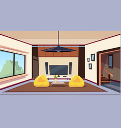 Modern living room interior with bean bag chairs vector
