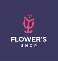 modern professional logo flowers shop on black vector image