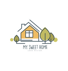 My sweet home logo template design eco friendly vector