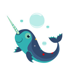 narwhal funny alphabet animal vector image