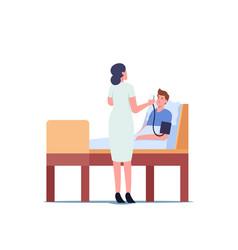 Nurse checking patient arterial pressure female vector