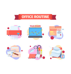 Office work routine set moments working schedule vector