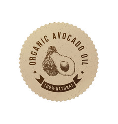 organic avocado oil emblem vector image