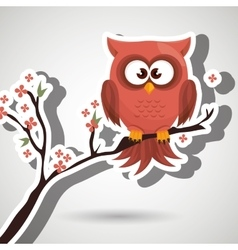 Owl orange tree leaves orange vector