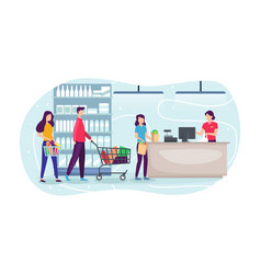 People shopping at supermarket and buying product vector