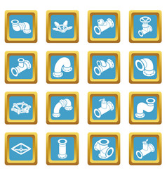 Pipeline constructor icons set sapphirine square vector