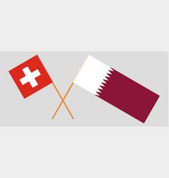 Qatar and switzerland the qatari and swiss flags vector