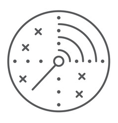 radar thin line icon military and navy target vector image