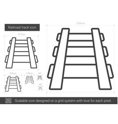 Railroad track line icon vector