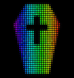Rainbow colored dotted coffin icon vector