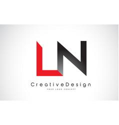 Red and black ln l n letter logo design creative vector