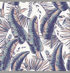 seamless pattern of tropical leaves exotic vector image