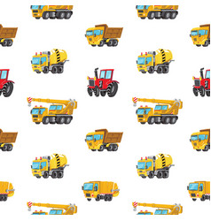 seamless pattern with colorful toy trucks cars vector image