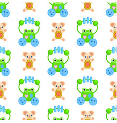 Seamless pattern with frogs and plush bears toys vector