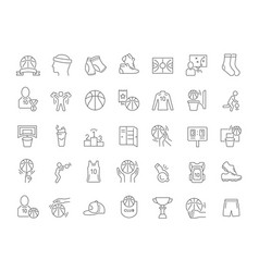 set line icons basketball vector image
