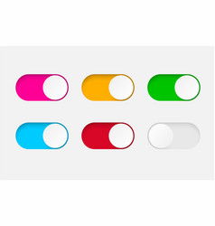 set on and off toggle switch buttonsdesign vector image