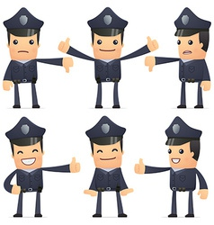 Set policeman character in different poses vector