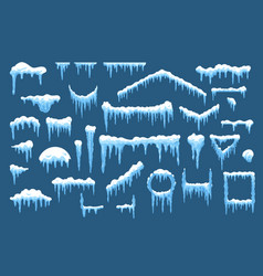 Set winter ice and holiday snow shapes vector