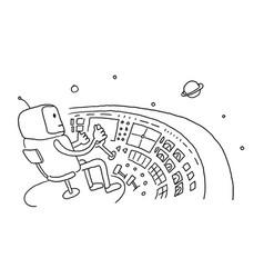 sketch astronaut man robot alien character on vector image