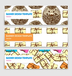 Sketch banner template with presents and hedgehog vector image