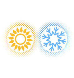 sun and snowflake abstract vector image