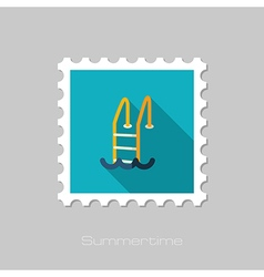 Swimming pool flat stamp Summer Vacation vector