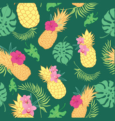 Tropical green pineapples seamless repeat pattern vector