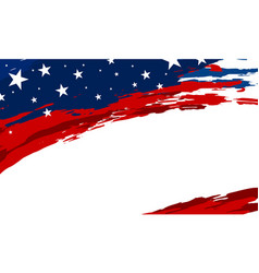 usa flag paintbrush banner on white background vector image
