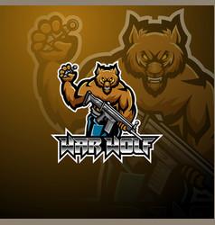 War wolf esport mascot logo design vector