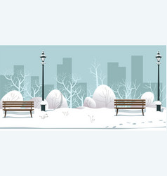 winter park with street lamps and bushes covered vector image