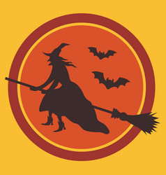 Witch on broom and bats silhouettes against moon vector