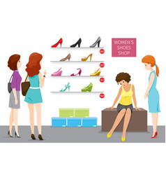 Womens shoes shop with saleswoman and customers vector