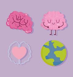 world mental health day human brain characters vector image
