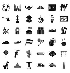 world tourism icons set simple style vector image