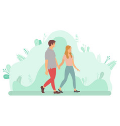 young couple walking and holding hands vector image
