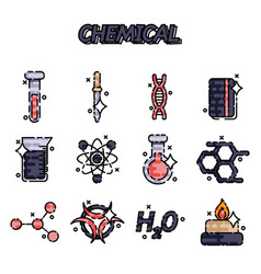 chemical flat concept icons vector image vector image