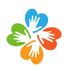 Colored hearts with hands logo vector image vector image