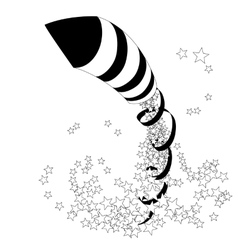 Flying firework rocket with a ribbon and stars vector image