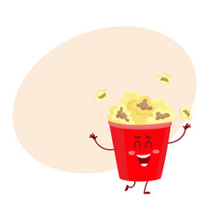 funny cinema popcorn bucket character with smiling vector image